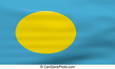 Waving Palau Flag, ready for seamless loop.
