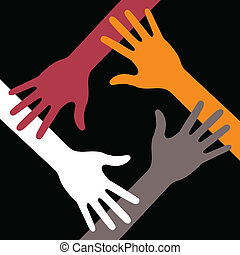Colorful Four Hands Icon on black background