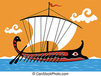 Ancient Greek trireme - An ancient Greek ship sailing on the...