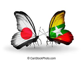 2, 蝶, 旗, 翼, シンボル, 関係, 日本,...