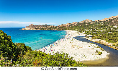 Ostriconi beach in Balagne region of Corsica - Ostriconi...