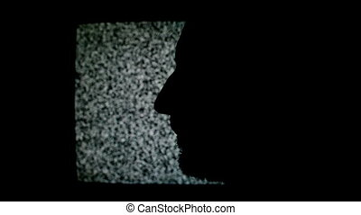 Unshaven man profile silhouette in front of static TV noise...