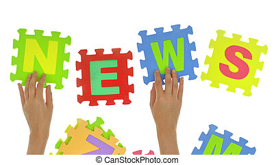 "Hands forming word ""News"" with jigsaw puzzle pieces isolated"