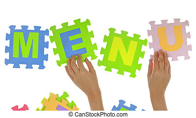 Hands forming word quot;Menuquot; with jigsaw puzzle pieces...
