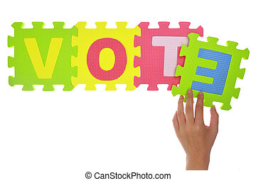 "Hands forming word ""Vote"" with jigsaw puzzle pieces isolated"