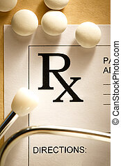 Stethoscope and pills - Stethoscope, pills and patient list