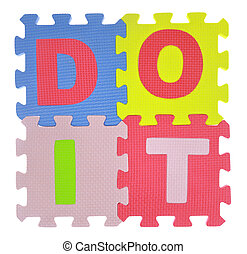 """Phrase """"Do it"""" made with jigsaw puzzle pieces isolated"""