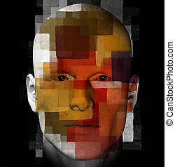 abstract figure - Male portrait and geometric pattern. 3d...