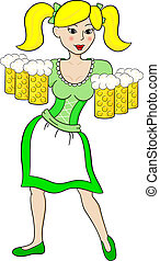 Oktoberfest girl serving beer - vector illustration of...