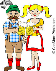 bavarian couple with oktoberfest beer - vector illustration...