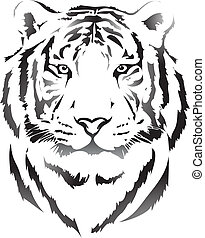 tigre, cabeza, negro,  interpretation3
