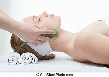 Beauty and relaxation concept, attractive woman in spa salon lyi