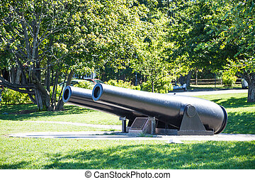 Two Old Iron Cannons in Maine Park - Two old, iron, black...