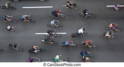 bikers - Bikers travelling through the city to make an...
