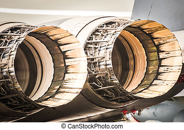 jet engines - abstract closeup of military fighter jet...