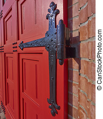 vintage red door and hinge detail - vintage red door and...
