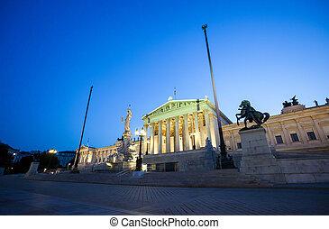autrichien, parlement, bâtiment, nuit