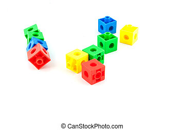 Colorful lego toy blocks on white backround