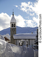 winter landscape - Heavy snowfall in Madesimo, a mountain...
