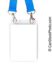 Badge with holders and blue straps isolated over white...