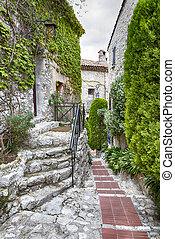 Eze France - Winding narrow stone streets in Eze near Nice,...