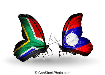 Two butterflies with flags on wings as symbol of relations South Africa and Laos