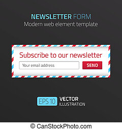 Modern newsletter form template with design of airmail -...