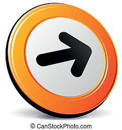 Vector next icon - Vector illustration of orange 3d next...