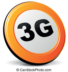 Vector 3g icon - Vector illustration of orange 3d 3g icon