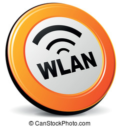 Vector wlan icon - Vector illustration of orange 3d wlan...