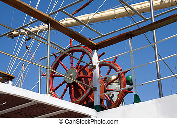 Sail ship steering wheel - Detail of sail ship with steering...