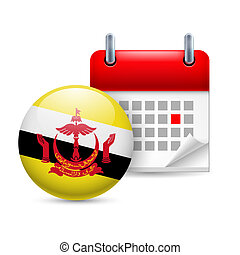 Icon of National Day in Brunei - Calendar and round Bruneian...