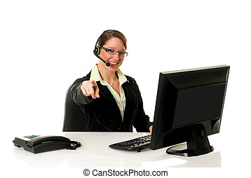Businesswoman office - Attractive female businesswoman in...