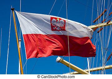 Polish flag - Flag of Poland at the sail ship