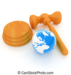 Wooden gavel and earth isolated on white background. Global...