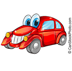 happy car cartoon isolated on white