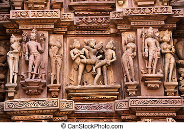 Detail of Khajuraho temple - Statues on a temple in...