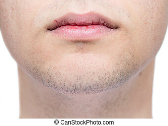 Goatee - Caucasian young man clean shave closeup