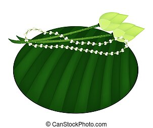 Lotus and Jasmine Garland on Green Banana Leaf - Jasmine...