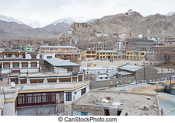 leh palace building and Leh City  in Leh Ladakh India