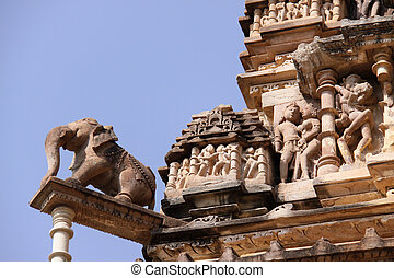 Khajuraho temple - Detail of the temple in Khajuraho