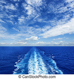 Ocean Wake from Cruise Ship - Ocean wake from cruise ship,...