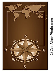 Compass Rose and blanck frame - Map world and blank frame...