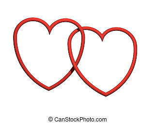 Intertwined hearts - Two red hearts 3d intertwined