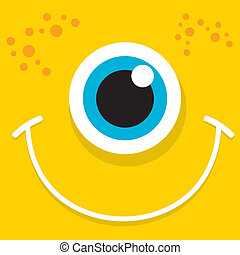 Vector Cartoon orange monster face - Cartoon cute friendly...