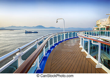 Cruise Ship Deck - Deck of luxury cruise ship, overlooking...