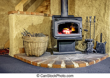 Wood Fired Stove in Mudbrick Cottage - A wood fired stove...