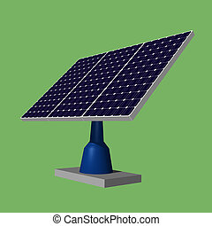 Solar panels - Illustration 3d of solar panels on green...
