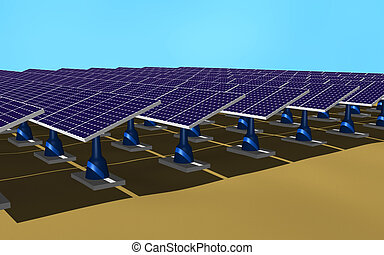 Solar panels - Illustration 3d of a set of solar panels on...