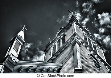 Church Steeple - Church steeple and crosses set against a...